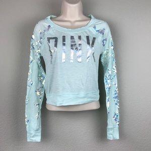 PINK Blue Iridescent Sequin Hologram Logo Shirt